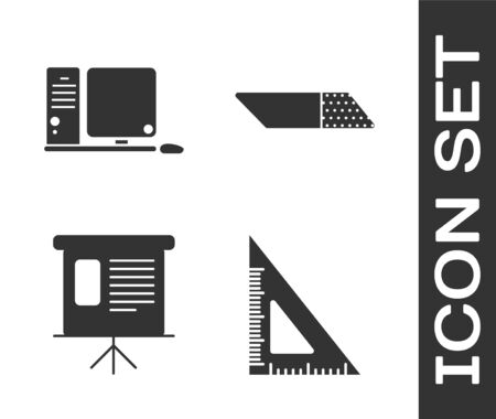 Set Triangular ruler, Computer monitor with keyboard and mouse, Presentation financial board with graph, schedule, chart, diagram, infographic, pie graph and Eraser or rubber icon. Vector