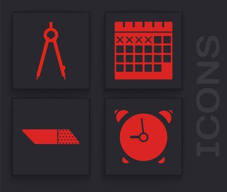 Set Alarm clock, Drawing compass, Calendar and Eraser or rubber icon. Vector