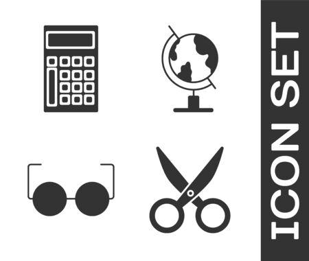 Set Scissors, Calculator, Glasses and Earth globe icon. Vector