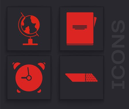 Set Eraser or rubber, Earth globe, Notebook and Alarm clock icon. Vector