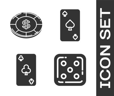 Set Game dice, Casino chip with dollar symbol, Playing card with clubs symbol and Playing card with spades symbol icon. Vector