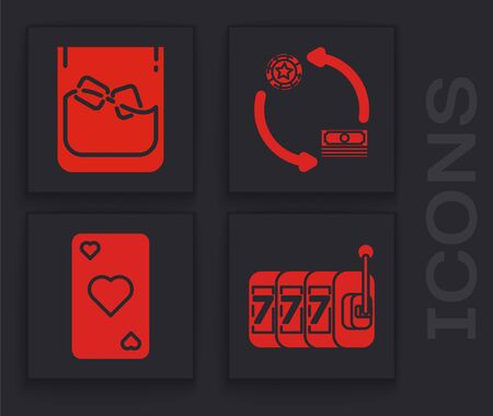 Set Slot machine with lucky sevens jackpot, Glass of whiskey and ice cubes, Casino chips exchange on stacks of dollars and Playing card with heart symbol icon. Vector