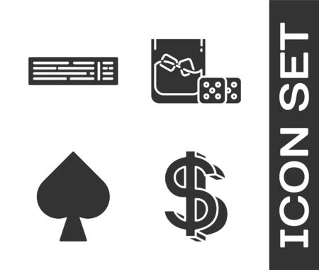 Set Dollar symbol, Deck of playing cards, Playing card with spades symbol and Game dice and glass of whiskey with ice cubes icon. Vector