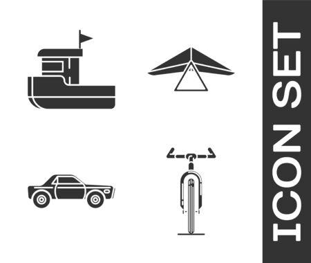 Set Bicycle, Fishing boat, Sedan car and Hang glider icon. Vector Stock Illustratie