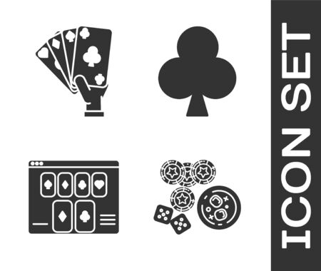 Set Casino chips, game dice and glass of whiskey with ice cubes, Hand holding playing cards, Online poker table game and Playing card with clubs symbol icon. Vector