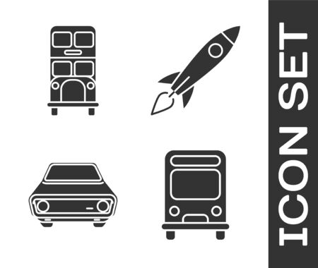 Set Bus, Double decker bus, Car and Rocket ship with fire icon. Vector Stock Illustratie