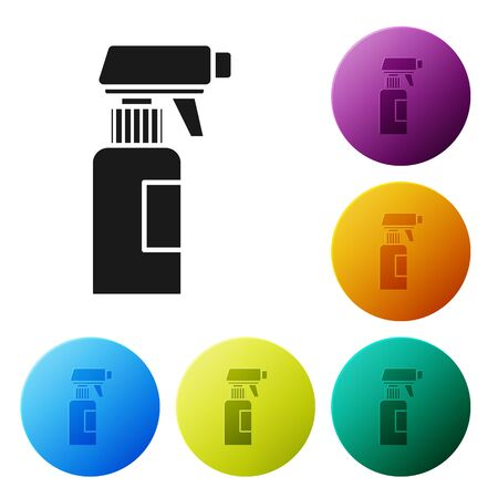 Black Hairdresser pistol spray bottle with water icon isolated on white background. Set icons colorful circle buttons. Vector Illustration Ilustrace