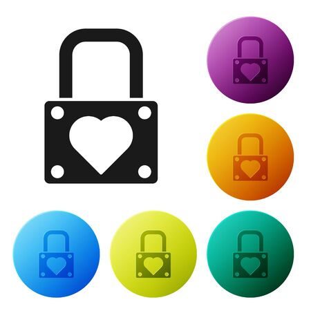 Black Lock and heart icon isolated on white background. Locked Heart. Love symbol and keyhole sign. Valentines day symbol. Set icons colorful circle buttons. Vector Illustration