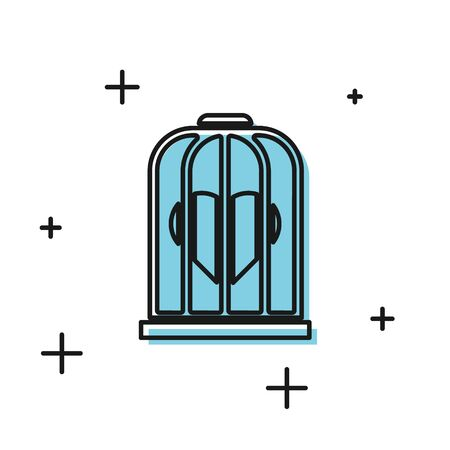 Black Heart in the bird cage icon isolated on white background. Love sign. Valentines symbol. Vector Illustration