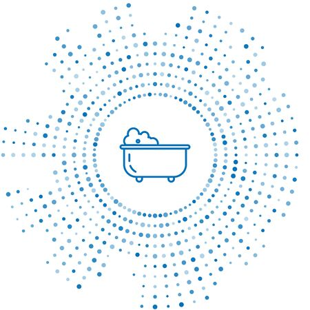 Blue line Baby bathtub with foam bubbles inside icon isolated on white background. Abstract circle random dots. Vector Illustration