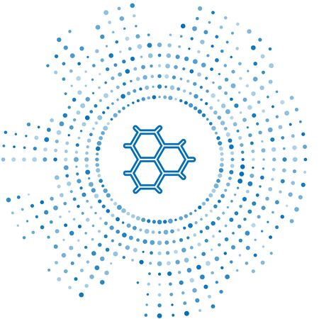 Blue line Chemical formula consisting of benzene rings icon isolated on white background. Abstract circle random dots. Vector Illustration