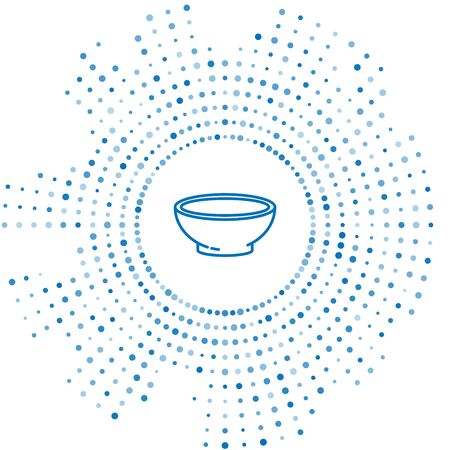 Blue line Bowl of hot soup icon isolated on white background. Abstract circle random dots. Vector Illustration