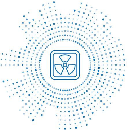 Blue line Radioactive icon isolated on white background. Radioactive toxic symbol. Radiation Hazard sign. Abstract circle random dots. Vector Illustration