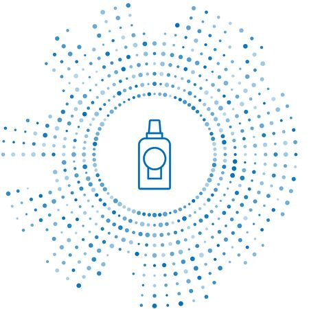 Blue line Mouthwash plastic bottle icon isolated on white background. Liquid for rinsing mouth. Oralcare equipment. Abstract circle random dots. Vector Illustration