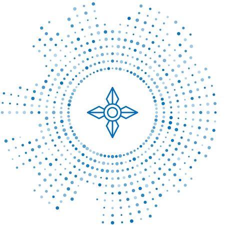 Blue line Japanese ninja shuriken icon isolated on white background. Abstract circle random dots. Vector Illustration