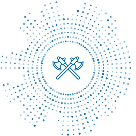 Blue line Crossed medieval axes icon isolated on white background. Battle axe, executioner axe. Abstract circle random dots. Vector Illustration Illustration