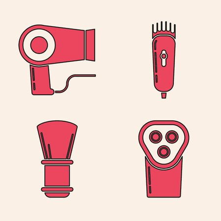 Set Electrical hair clipper or shaver, Hair dryer, Electrical hair clipper or shaver and Shaving brush icon. Vector