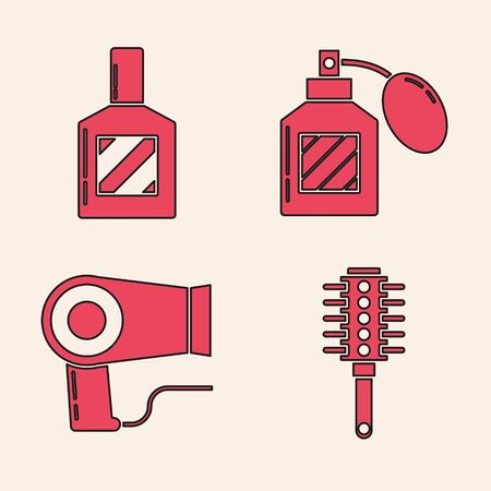 Set Hairbrush, Aftershave, Aftershave and Hair dryer icon. Vector