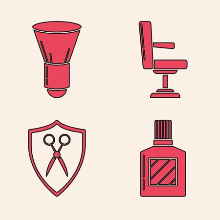 Set Aftershave, Shaving brush, Barbershop chair and Scissors hairdresser and shield icon. Vector