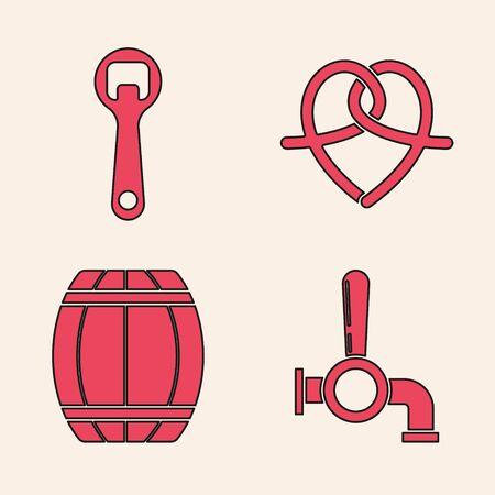 Set Beer tap, Bottle opener, Pretzel and Wooden barrel icon. Vector