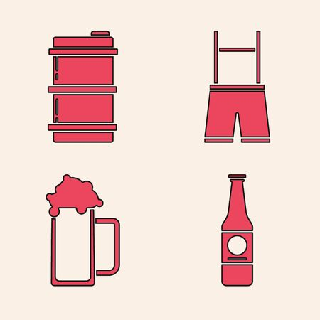 Set Beer bottle, Metal beer keg, Lederhosen and Glass of beer icon. Vector