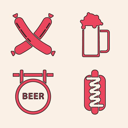 Set Hotdog sandwich with mustard, Crossed sausage, Glass of beer and Street signboard with inscription Beer icon. Vector