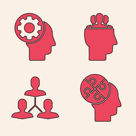 Set Human head puzzles strategy, Human head with gear inside, Project team base and Project team base icon. Vector
