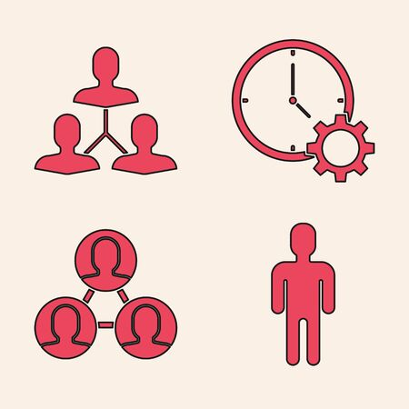 Set User of man in business suit, Project team base, Time Management and Project team base icon. Vector