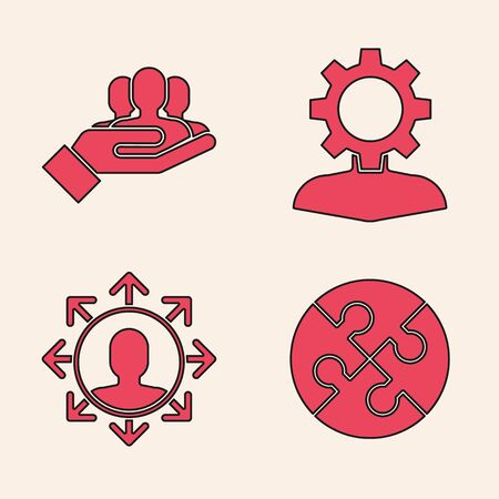 Set Piece of puzzle, Project team base, Human with gear inside and Project team base icon. Vector