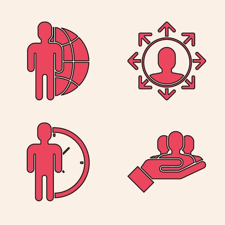 Set Project team base, Globe and people, Project team base and Time Management icon. Vector