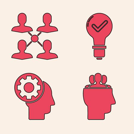Set Project team base, Project team base, Light bulb and check mark and Human head with gear inside icon. Vector