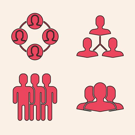 Set Users group, Project team base, Project team base and Users group icon. Vector