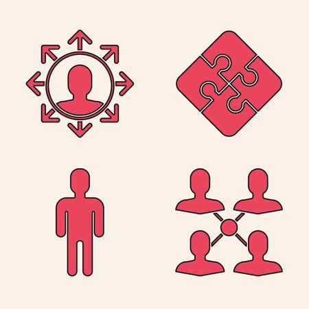 Set Project team base, Project team base, Piece of puzzle and User of man in business suit icon. Vector