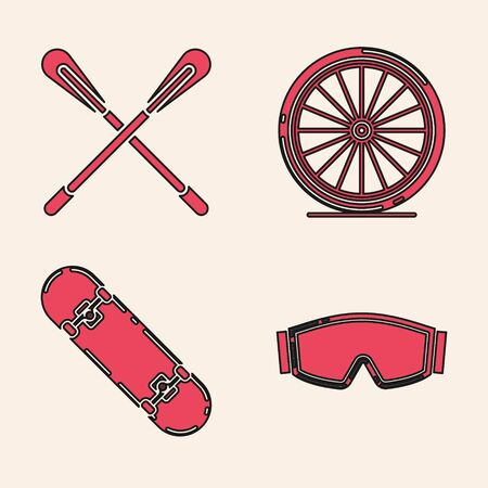 Set Ski goggles, Crossed paddle, Bicycle wheel and Skateboard trick icon. Vector