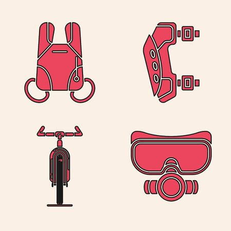 Set Diving mask, Parachute, Knee pads and Bicycle icon. Vector Illustration