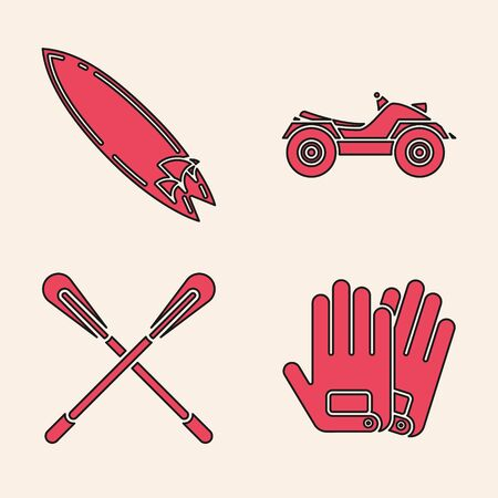 Set Gloves, Surfboard, All Terrain Vehicle or ATV motorcycle and Crossed paddle icon. Vector Vectores