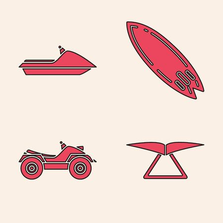 Set Hang glider, Jet ski, Surfboard and All Terrain Vehicle or ATV motorcycle icon. Vector