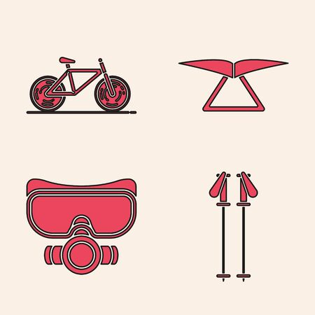 Set Ski poles, Bicycle, Hang glider and Diving mask icon. Vector