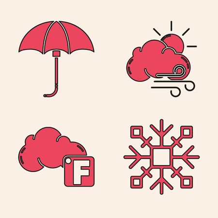 Set Snowflake, Classic elegant opened umbrella, Windy weather and Fahrenheit and cloud icon. Vector
