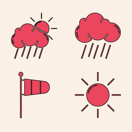 Set Sun, Cloud with rain and sun, Cloud with rain and Cone meteorology windsock wind vane icon. Vector
