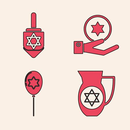 Set Decanter with star of david, Hanukkah dreidel, Jewish coin on hand and Balloons with ribbon with star of david icon. Vector