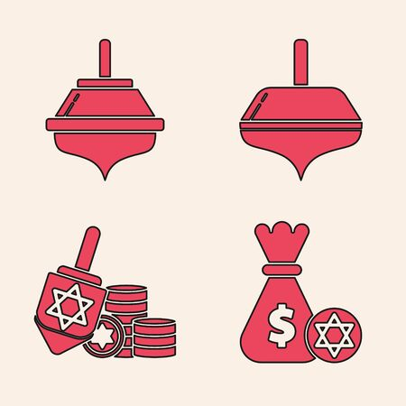 Set Jewish money bag with star of david and coin, Hanukkah dreidel, Hanukkah dreidel and Hanukkah dreidel and coin icon. Vector