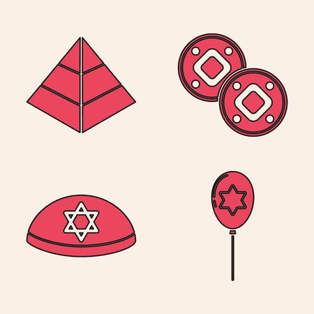 Set Balloons with ribbon with star of david, Egypt pyramids, Jewish coin and Jewish kippah with star of david icon. Vector