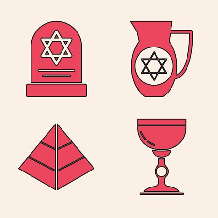 Set Jewish goblet, Tombstone with star of david, Decanter with star of david and Egypt pyramids icon. Vector