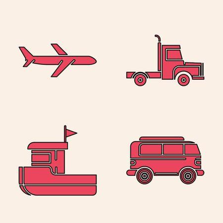 Set Retro minivan, Plane, Delivery cargo truck vehicle and Fishing boat icon. Vector