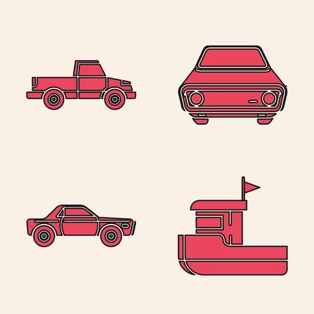 Set Fishing boat, Pickup truck, Car and Sedan car icon. Vector