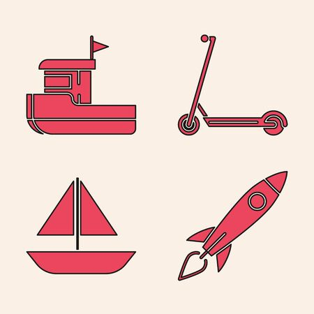 Set Rocket ship with fire, Fishing boat, Scooter and Yacht sailboat or sailing ship icon. Vector