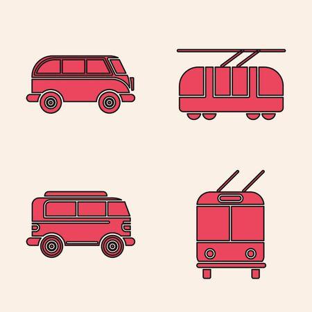Set Trolleybus, Retro minivan, Tram and railway and Retro minivan icon. Vector
