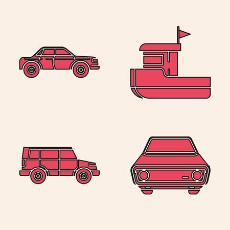 Set Car, Sedan car, Fishing boat and Off road car icon. Vector