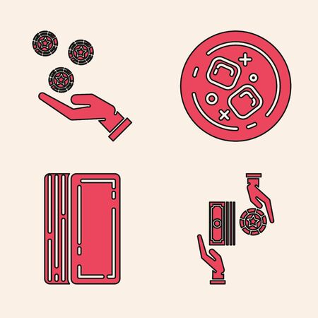 Set Casino chips exchange on stacks of dollars, Hand holding casino chips, Glass of whiskey and ice cubes and Deck of playing cards icon. Vector